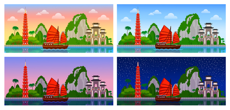 Vietnam. Panoramic view. Night, day, dawn and sunset, morning and sunrise. City skyline for flyer, magazine, poster, horizontal banner and guide book