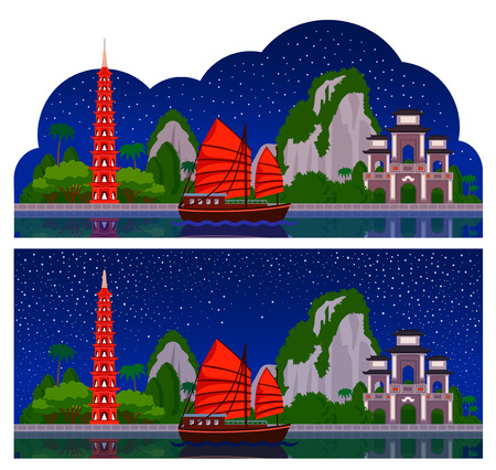 Vietnam. Horizontal panoramic dark night view for flyer, magazines, posters, book cover, banners, guide book. Vector cartoon colorful flat illustration.