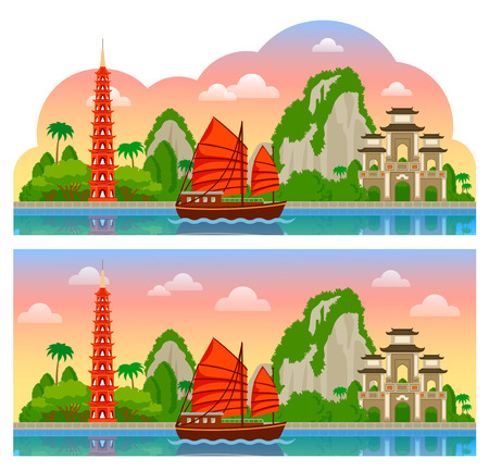 Vietnam. Horizontal panoramic sunrise view for flyer, magazines, posters, book cover, banners, guide book. Vector cartoon colorful flat illustration. Vectores