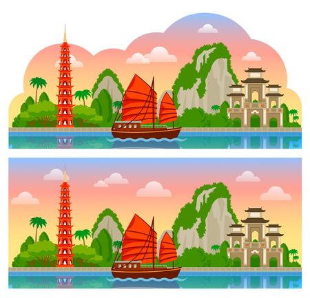 Vietnam. Vue panoramique horizontale du lever du soleil pour flyer, magazines, affiches, couverture de livre, bannières, guide. Illustration plate colorée de dessin animé de vecteur.