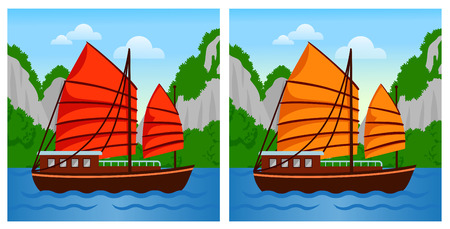 Vietnamese junk boat in Halong Bay. Vector flat illustration. Illustration
