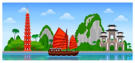 Vietnam skyline with colorful buildings and blue sky. Vector flat illustration for tourism presentation, banner, placard or web. Panoramic city view.