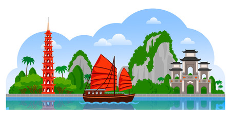 Vietnam. Day panoramic view. Tran Quoc Pagoda, junk boat, mountains, Halong Bay. Vector flat illustration with different attractions for flyer, magazines, posters, book cover, banners and guide book.