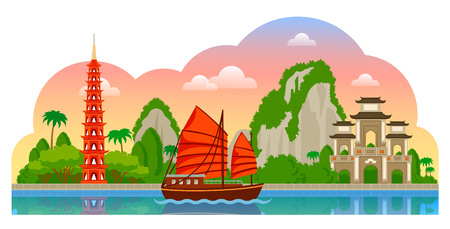 Vietnam. Morning panoramic view. Tran Quoc Pagoda, junk boat, mountains, Halong Bay. Vector flat illustration with different attractions for flyer, magazines, posters, book cover, banners and guide book. Illustration