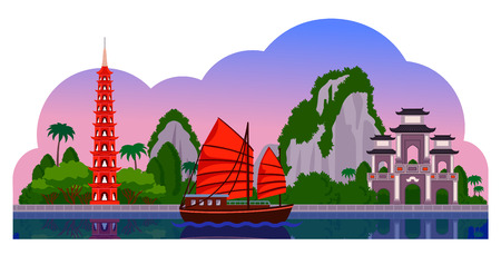 Vietnam. Evening panoramic view. Tran Quoc Pagoda, junk boat, mountains, Halong Bay. Vector flat illustration with different attractions for flyer, magazines, posters, book cover, banners and guide book. Ilustração