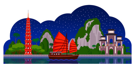 Vietnam. Night panoramic view. Tran Quoc Pagoda, junk boat, mountains, Halong Bay. Vector flat illustration with different attractions for flyer, magazines, posters, book cover, banners and guide book.