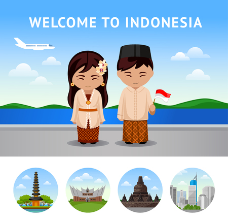 Travel to Indonesia. Bali. Set of traditional architecture. Collection of colorful vector illustrations for the guidebook. Peoples in national dress. Flat round icons. Illustration