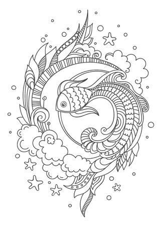 Hand gezeichneter Fisch auf weißem Hintergrund. Gekritzelvektorillustration für erwachsene Malbuchseite, Druck, T-Shirt, Plakat, Karte.