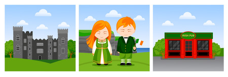 Travel to Ireland. People, woman and man with national flag, irish pub, castle. Set of vector flat illustration.