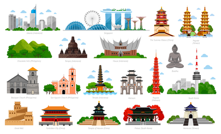 Travel to Asia. Singapore, Indonesia, China and South Korea, Taiwan, Vietnam. Big collection of famous landmarks. Cityscape, buildings and attractions. Vector flat illustration