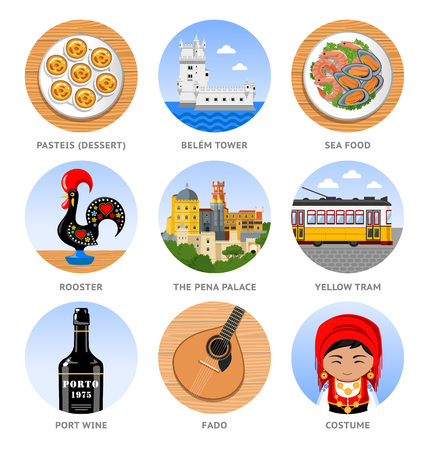 Travel to Portugal. Set of traditional cultural symbols, cuisine, architecture. Collection of colorful vector illustrations for the guidebook. Peoples in national dress. Flat round icons.