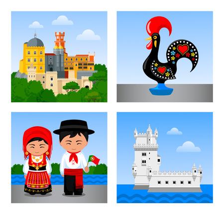 Attrazioni in Portogallo. Set di illustrazioni vettoriali piatte.