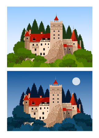Castle of Dracula. Day and night view. Romania landmarks. Flat cartoon style. Vector illustration.