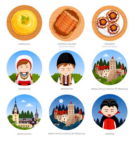Rumänien. Satz traditioneller kultureller Symbole, Küche, Architektur, Sehenswürdigkeiten. Sammlung von runden flachen Illustrationen für Reiseführer. Rumänen in nationaler Kleidung. Vektor.