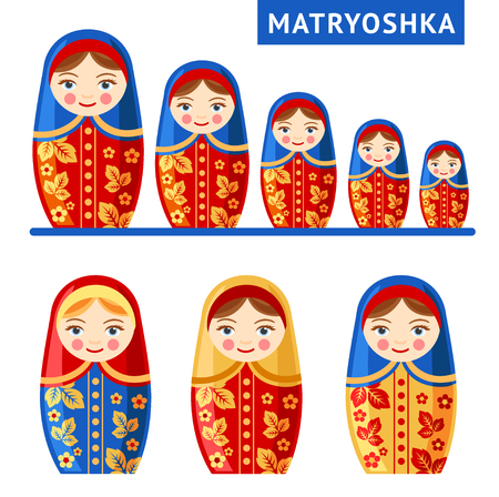 Russian nesting doll. Matryoshka. Vector flat illustration Çizim