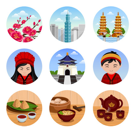 Travel to Taiwan. Set of traditional cultural taiwanese symbols, cuisine, architecture. Collection of colorful vector illustrations for the guidebook. Peoples in national dress. Flat round icons.