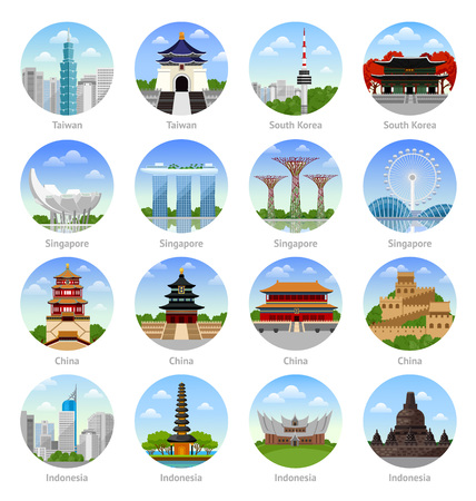 アジア旅行。シンガポール、中国、韓国、台湾、インドネシア。アイコンのセット。街並み、建物、ランドマーク、アトラクション。丸いイラストのコレクション