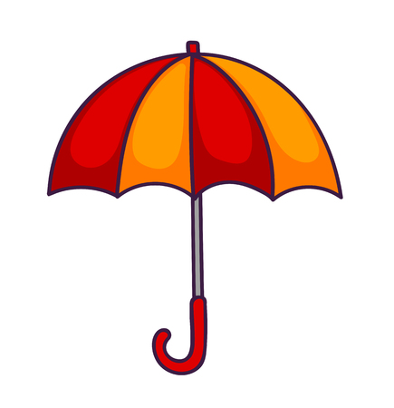 Red-yellow cartoon umbrella. Sticker, patch and pin. Vector illustration