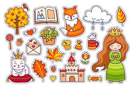 Cute little princess, fox, white cat with crown, castle, kitten, autumn tree, open book, leaves, clouds, love letter. Big set of cartoon stickers, pins, badges, patches.