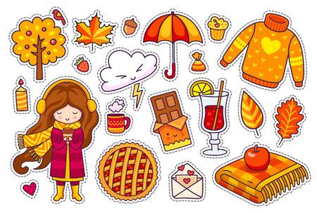 Ensemble d'autocollants d'automne mignons. Petite fille kawaii avec café, tarte aux baies, pull douillet, parapluie, plaid, feuilles, vin chaud. Illustration vectorielle. Vecteurs