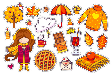 Set of cute autumn stickers. Kawaii little girl with coffee, berry pie, cozy pullover, umbrella, plaid, leaves, mulled wine. Vector illustration. Ilustracja