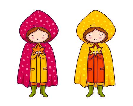 Cute little girls in raincoats with polka dots. Vector cartoon character. Illustration