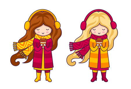 Two cute little girls, wearing coats and big knitted scarves. Autumn fashion. Kawaii cartoon characters for postcard, card, print, poster, invitation. Illusztráció