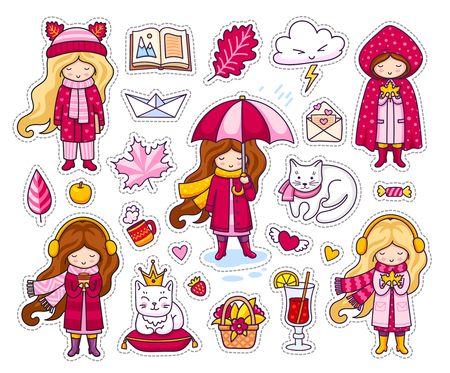 Set of cute autumn stickers. Kawaii little girls, holding leaf, coffee, book. Kitten, cat, funny cloud, paper origami boat. Fall. Vector illustrations.