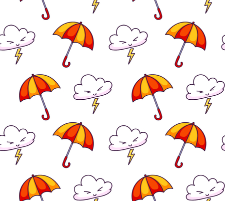 Seamless pattern with clouds, lightning, umbrellas. Cute weather elements. Print for textile, fabric, decor, paper and wallpaper. Vector design for kids, children and babies. Imagens - 126313800