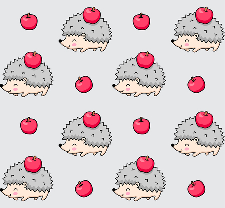 Seamless pattern of spiky hedgehogs with red apples. Cute cartoon animal background. Vector illustration. Imagens - 126313801