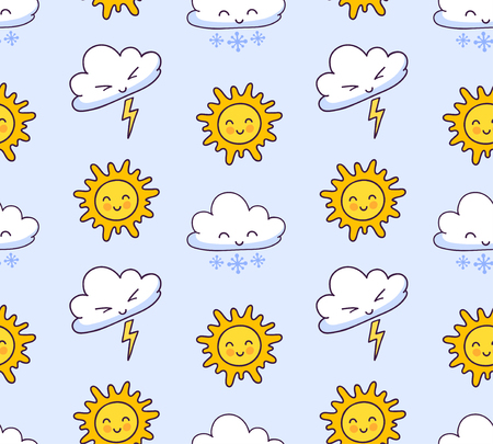 Seamless pattern with clouds, lightning, snow, sun on a light blue background. Cute weather symbols. Print for textile, fabric, decor, paper, wallpaper. Vector design for kids, children and babies.