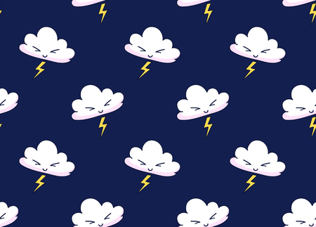 Vector seamless pattern of cartoon clouds with lightning on a dark night background. Print for textile, fabric, posters, decor, paper, clothes, wallpaper. Vector design for kids, children, babies.