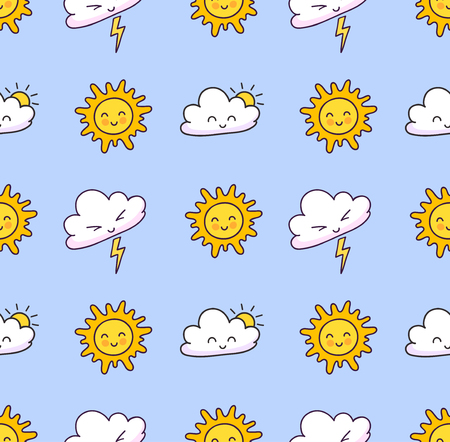 Seamless pattern with clouds, lightning, sun on a light blue background. Cute weather elements. Print for textile, fabric, posters, decor, paper and wallpaper. Vector illustration.
