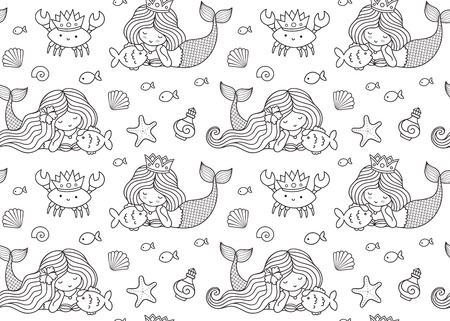 Seamless pattern with little lying mermaid, big fish, krabbe, crown. Print design for coloring book, textile, fabric, greeting cards, paper and wallpaper. Vector illustration. Imagens - 126313811