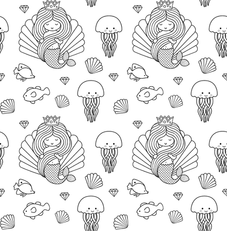 Seamless pattern with little mermaid, fish and jellyfish. Under the sea. Print design for coloring book, textile, fabric, posters, paper, clothes and wallpaper. Vector illustration. Imagens - 126313812