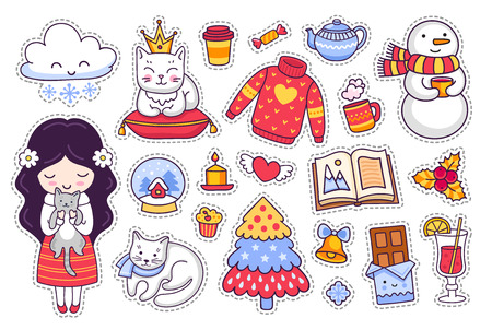 Little girl with kitten and cat, chocolate, book, sweater, snowman. Set of cartoon winter stickers, patches and pins. Doodle style. Vector illustration.