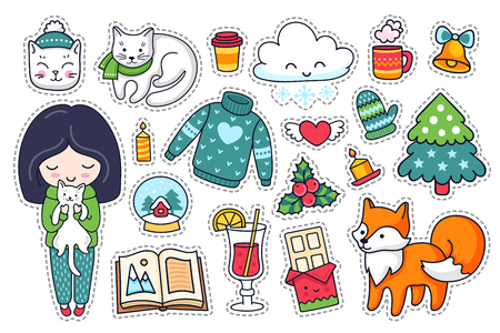 Little girl, fox, kitten, sweater and mistletoe. Set of cartoon winter stickers, patches and pins. Doodle style. Vector illustration. Ilustração