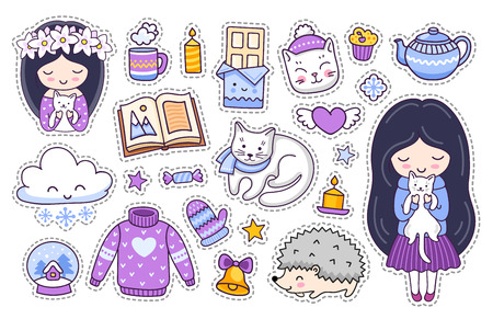 Little girl and white kitten, cat, hedgehog, chocolate, book and sweater. Set of cute cartoon winter stickers. Doodle style. Vector illustration. Imagens - 126313815