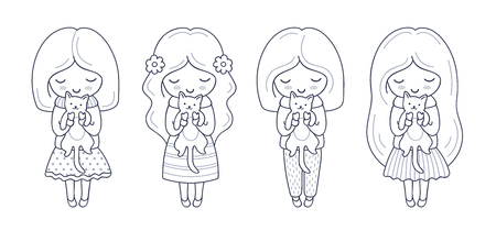Little girl with kitten in her hands. Set of cute cartoon characters. Vector illustration for coloring book, print, card, postcard, poster, t-shirt, tattoo. Imagens - 126313816