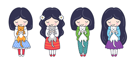 Set of cute little dark-haired girls with kittens. Cartoon characters. Vector illustration. Ilustração