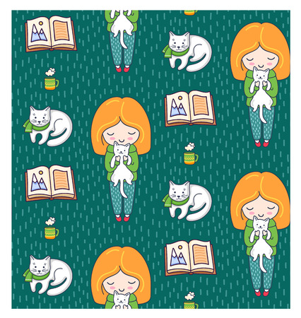 Cozy seamless patterns with ginger girls and cats on a green background. Vector illustration. Ilustrace