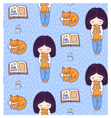 Blonde girls, books, ginger cats, kittens and tea cup. Cute winter seamless pattern for textile, fabric, paper and wallpaper. Vector illustration for kids, children, babies. Ilustração