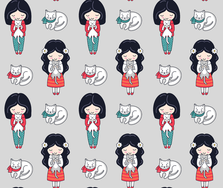 Seamless pattern with dark-haired little girl and cats. Vector background for postcards, wallpaper, textiles, bed linen, tissue, print, wrapping.