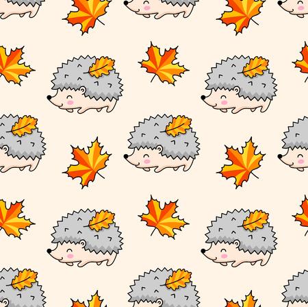 Kawaii hedgehogs, autumn maple leaves. Cute cartoon seamless pattern. Vector illustration. Imagens - 126313820