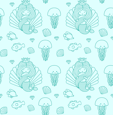 Seamless pattern with little mermaid, fish, jellyfish. Under the sea. Print design for textile, fabric, posters, paper and wallpaper. Vector illustration. Imagens - 126313821