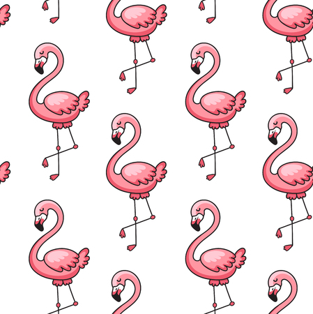 Tropical ornament with exotic pink flamingo birds. Seamless pattern. Print for textile, fabric, posters, postcard, decor, paper and wallpaper. Vector illustration. Imagens - 126313822