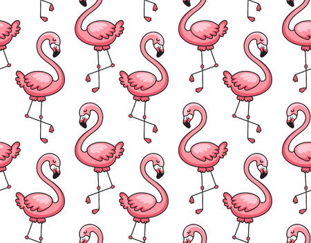 Seamless pattern of pink flamingos. Cute cartoon animal background. Print for textile, fabric, posters, postcard, paper, wallpaper. Vector illustration Imagens - 126313825