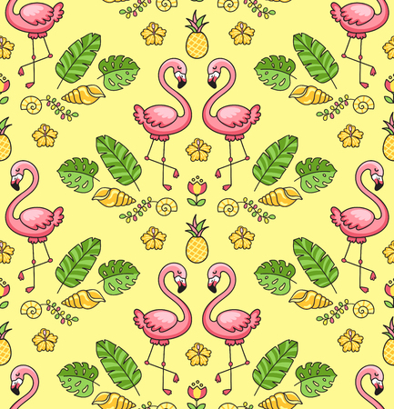 Tropical colorful ornament with exotic flamingo birds. Seamless pattern on a yellow background. Vector illustration for print, wallpaper, postcard. Ilustração