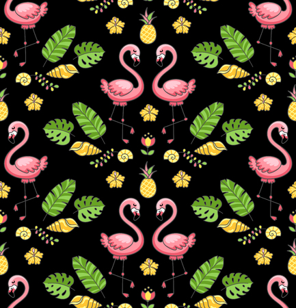 Tropical ornament with exotic flamingo birds. Seamless pattern on a black background. Vector illustration for print, wallpaper, postcard. Imagens - 126313827