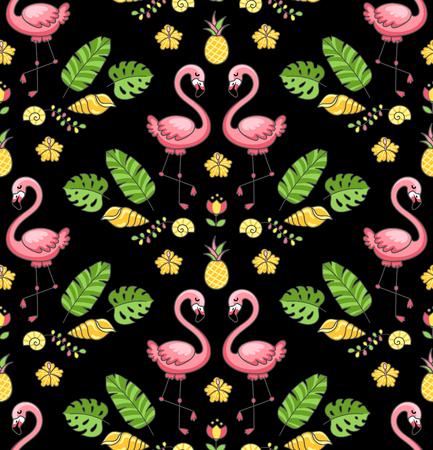 Tropical ornament with exotic flamingo birds. Seamless pattern on a black background. Vector illustration for print, wallpaper, postcard. Ilustração